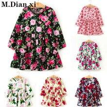 Детские платья для девочек с длинными рукавами и цветочным принтом; хлопковое и льняное платье с цветочным рисунком для маленьких девочек; весенне-летние платья для девочек