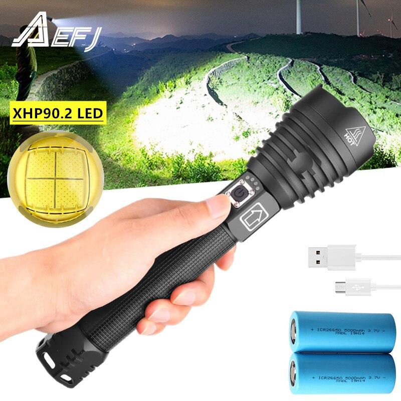 Dropshipping XHP90.2 xhp70.2 LED latarka Zoomable USB akumulator wyświetlacz mocy latarka o dużej mocy 18650 26650 Handheld Light