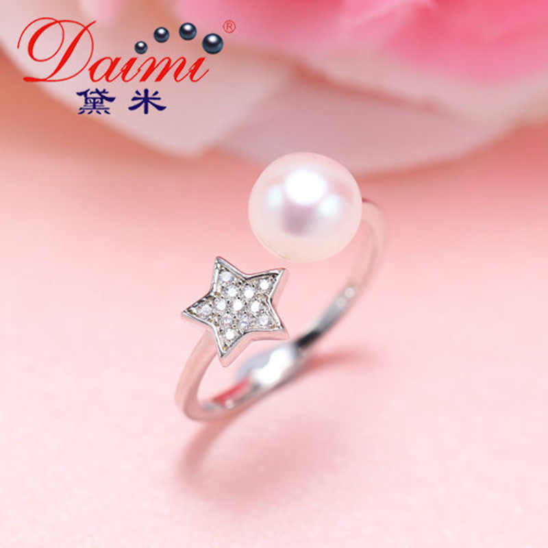 DMCRFP006 7-8MM Pearl Ring Semi-round Pearl Ring For Women
