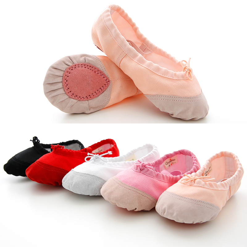 Soft Canvas And Leather Head Ballet Shoes For Girls Kids Children High Quality Dance Slipper Dance
