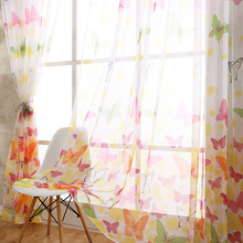 Butterfly Door Screen Voile Window Sheer Curtain Drape Kitchen Living Room Kids Curtains Party Christmas Decorations for Home pastoral daisy door screen voile window sheer curtain blinds drape bedroom curtains backdrop christmas decorations for home wall