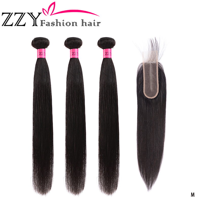 ZZY Fashion Hair Straight Hair Bundles With Closure Brazilian Hair Weave 3 Bundles Human Hair 2x6 Closure With Bundles Non-remy
