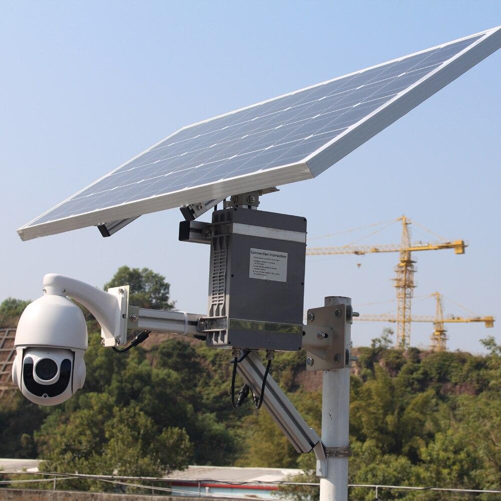 Caméra d'énergie solaire 100W GSM 4G GSM   Fente pour carte sim, wifi sans fil, ip ptz 1080P sony, vidéosurveillance de sécurité extérieure cmos avec carte d'enregistrement 128G