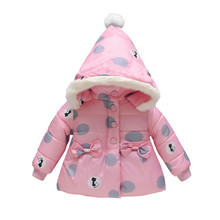 Coat For Girls 2019 New Cute Baby Winter Coats Jacket Thick Ears Snowsuit Hoodie Velvet overalls for girls manteau fille