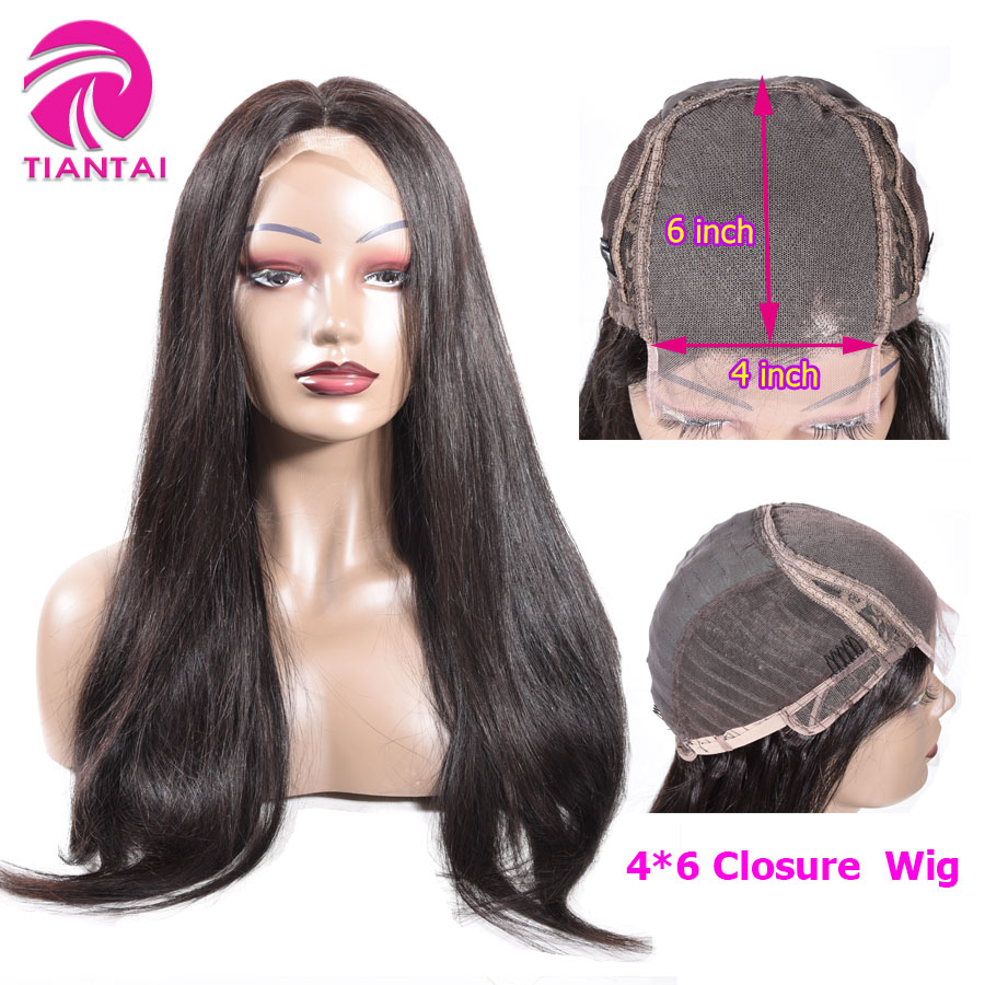 28 Inch Wig Straight 4x6 Lace Closure Wigs  Human Hair Lace Wig Brazilian Remy U Part Wig For Woman  Bleached Knot 150 Density