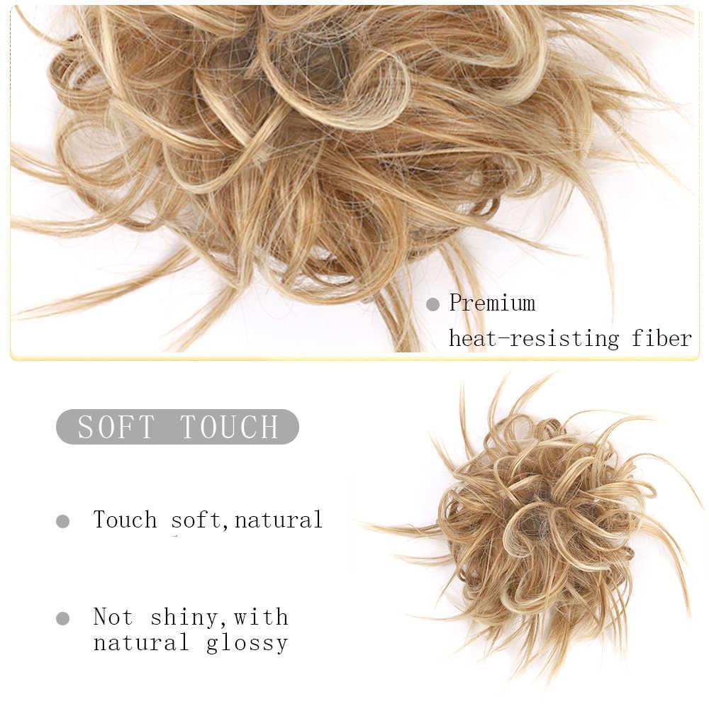 Moño de pelo desordenado Scrunchie para mujeres extensiones de peluca sintética anillo envoltura Chignon negro marrón de fibra de alta temperatura