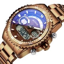 STYRVE reloj deportivo S8020 de acero inoxidable, resistente al agua hasta 50M, movimiento de Japón 2035, relojes digitales de cuarzo para hombre