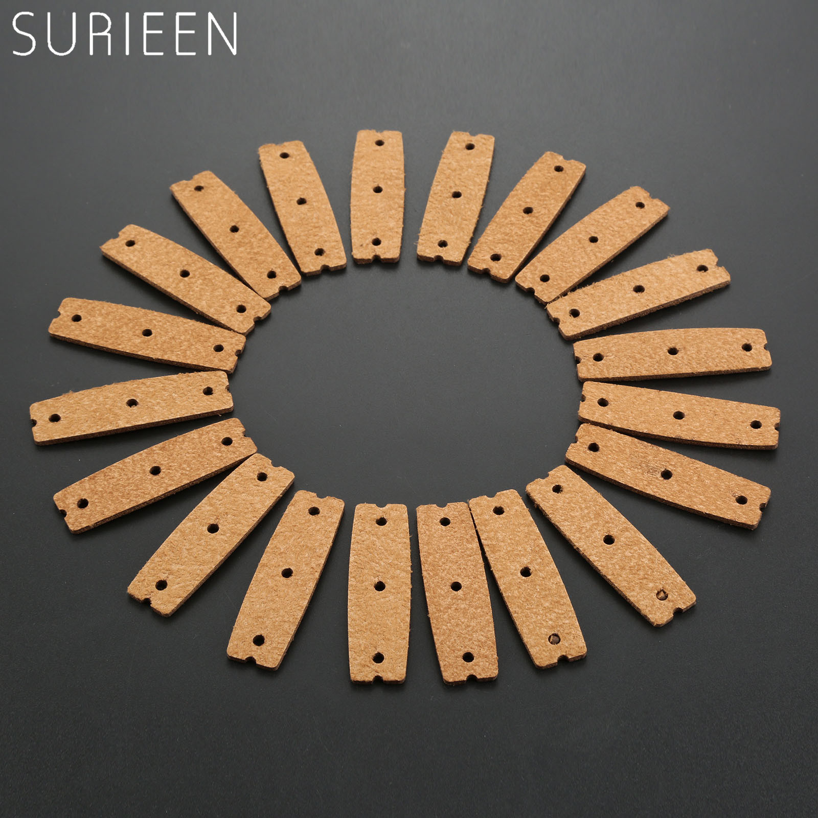 Brown 20pcs Slingshot Pouches Microfiber Leather with Multi Hole Outdoor Hunting Catapult Rubber Band Accessories 60mm*18mm*15mm