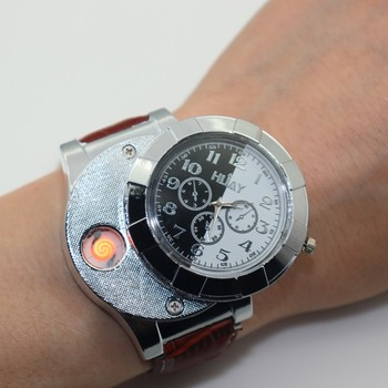 Cigarette Lighter Watch Men USB Rechargeable Watches Casual Male Quartz Wristwatches Leather Flameless Clock F667 1PCS - discount item  35% OFF Men's Watches