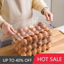 24 Grid Japanese-style Household Egg Carton Shockproof Refrigerator Storage Box with Lid Transparent Egg Fresh-keeping Box