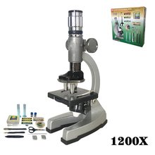 цена на 1200X Illuminated Present Microscope Zoom Monocular Biological Microscope Present Gift Educational Toy Microscope Metal Body