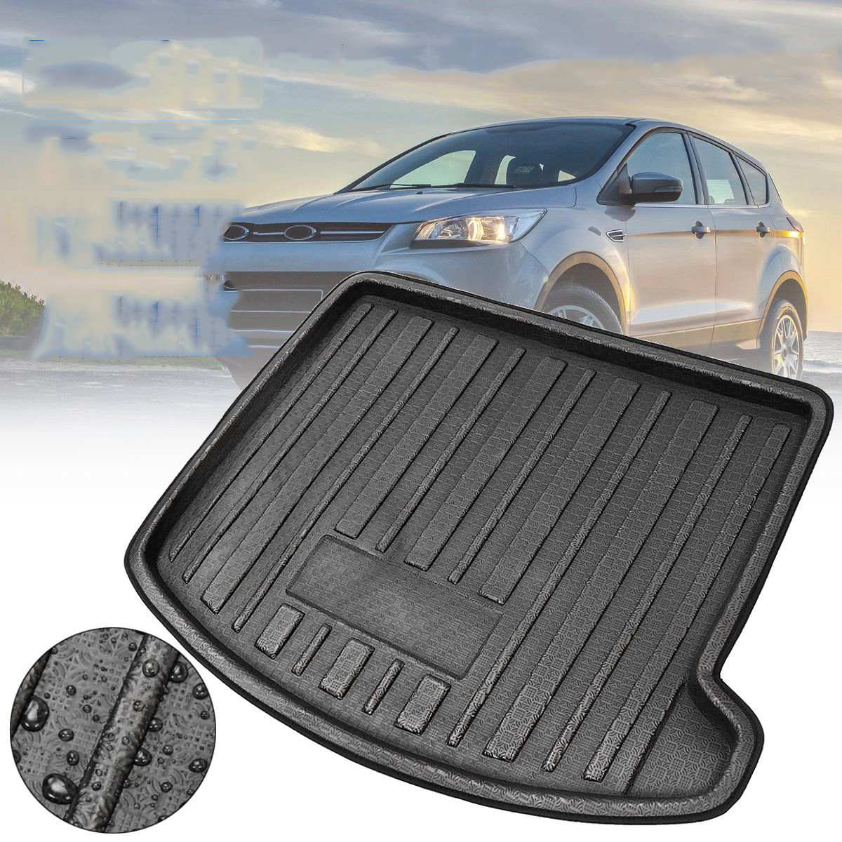 Boot Mat Rear Trunk Liner Cargo Floor Tray Carpet Mud Kick Protector Cover For Ford Escape Kuga 2013 2014 2015 2016 2017 18-2019