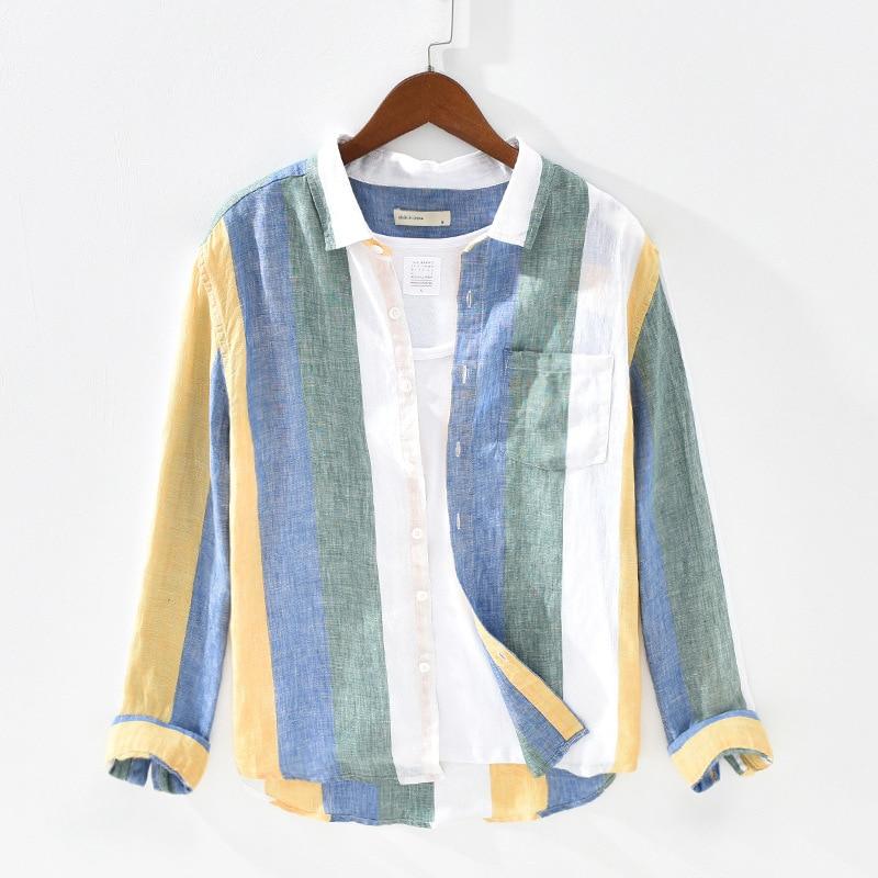 100% Linen Fashion Striped Men Casual Shirts Breathable Swag Summer Shirts For Men Long Sleeve Printed Shirts #1931