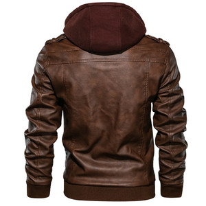 Image 4 - Herren leder jacke, Pu leder jacke mit abnehmbarer kapuze für motorrad, mit schrägen zipper für männer mantel große größe