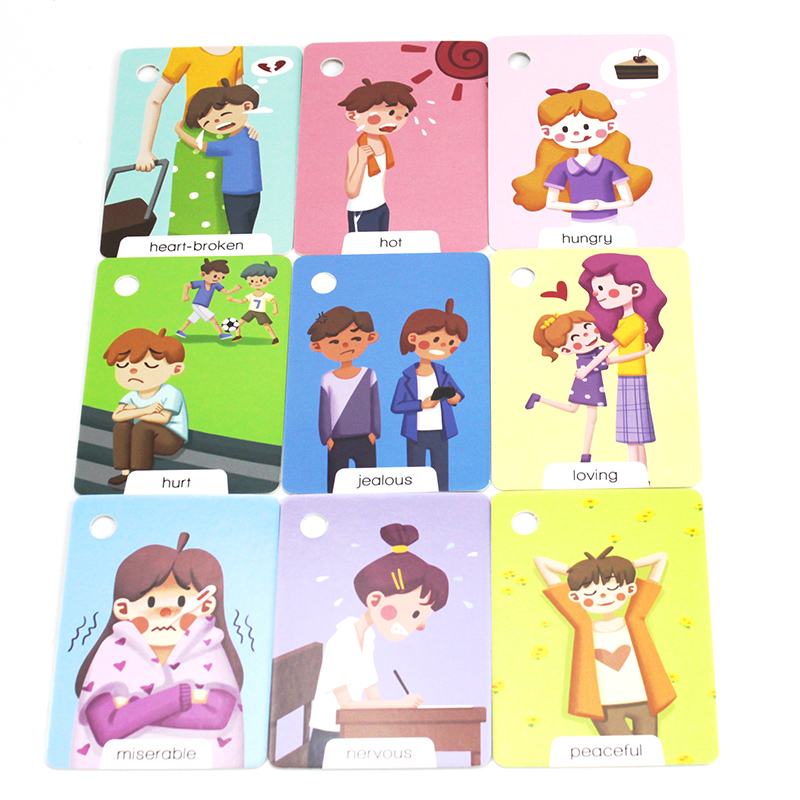 23Pcs Montessori Baby English Emotion Learning Cards Cartoon Flash Cards For Children Early Educational Toy Memory Game For Kids 6