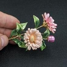 Модная красивая эмалированная брошь в виде цветка маргаритки