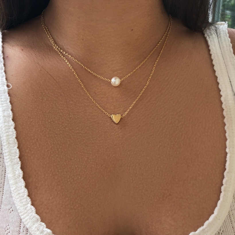 Dwie warstwy Pearl Choker naszyjnik kobiety biżuteria Choker złoty srebrny naszyjnik na szyi łańcuch Bijoux Collares Mujer Collier Femme