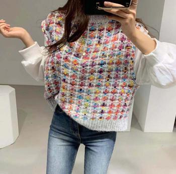 2020 Korean Winter Fashion White Puff Sleeve Blouse Fake 2 Piece Elegant Plaid Knitted  Pullovers Patchwork Women Sweater Shirts turtleneck falbala patchwork plaid blouse