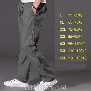 Image 4 - 春夏カジュアルパンツ男性ビッグサイズ 6XL マルチポケットジーンズ特大パンツオーバーオール弾性ウエストパンツプラスサイズ男性