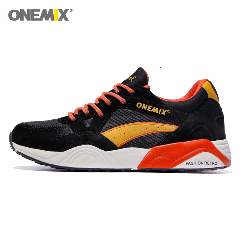 ONEMIX Retro Men Sneakers Light Weight Breathable Lace-up Adult Male Outdoor Athletic Casual Training Running Jogging Shoes