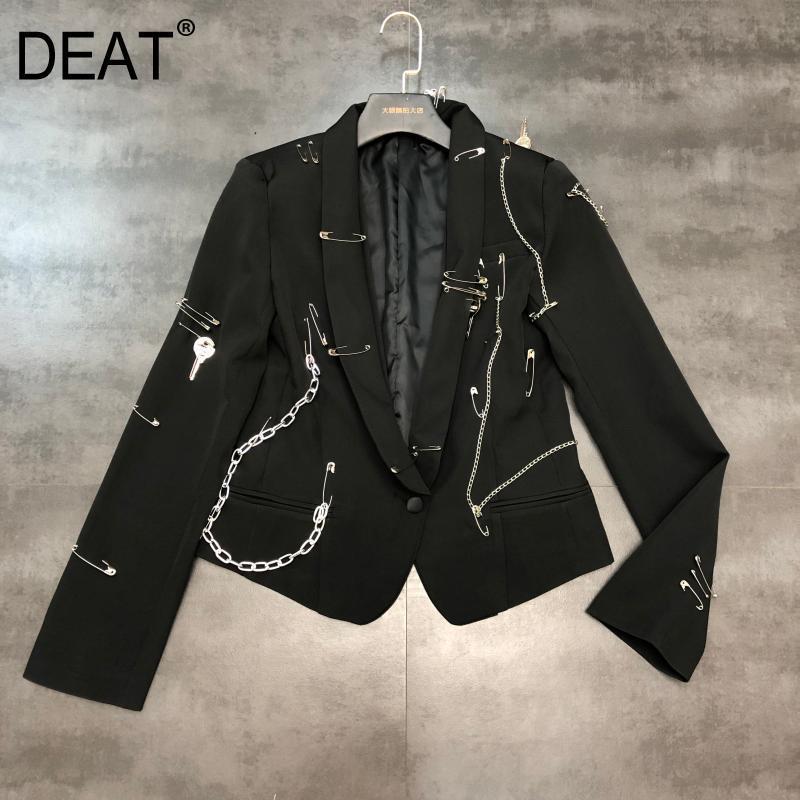DEAT 2020 New Spring Sui Collar Brooch Chain Decoration Blazer Women Vintage Temperament Slim Short Suit Coat Tide PD551
