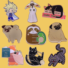 SP055 Cartoon Anime Funny Dog Metal Enamel Pins and Brooches for Lapel Pin Backpack Bags Sloth Badge Collar Jewelry