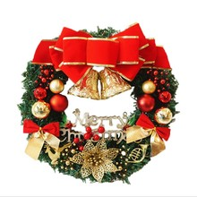 Christmas red bell wreath party decoration home holiday articles Garlands and rattles adorn the doors