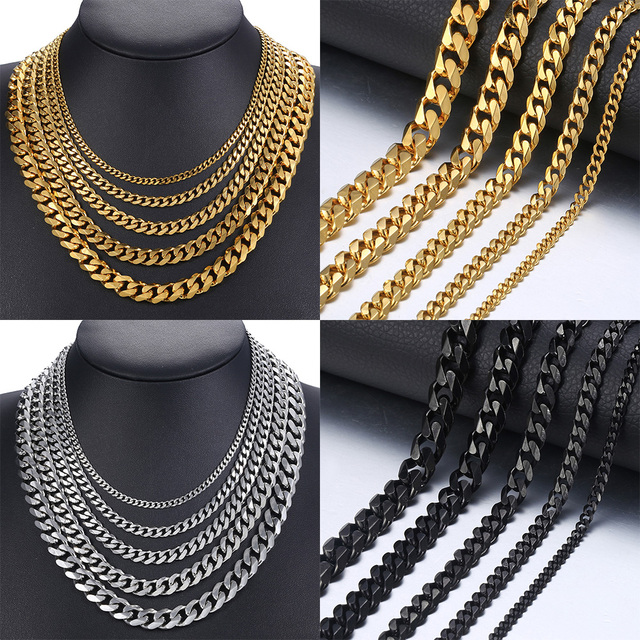 Size 3-9mm Men's Necklace Stainless Steel Cuban Link Chain Gold Black Silver Color Male Jewelry Gifts for Men KNM07 2
