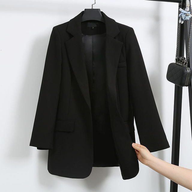 PEONFLY Casual Single Button Women Blazer Jacket Notched Collar Female Jackets Fashion Black Suits Outwear 2019 Autumn Coat 3