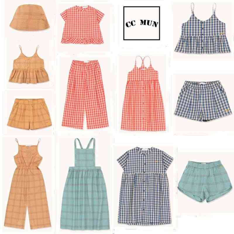 Pre-sale 2020 TC Spring and Summer  Girls Stripe Plaid Dress Female Camisole Girl Top Shorts