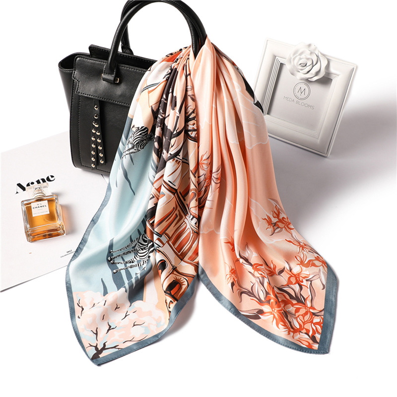 Fashion Print Kerchief Hair Scarf For Women Small Bandana Head Silk Satin Bag Scarfs 70*70cm Square Neck Scarves For Ladies 2020