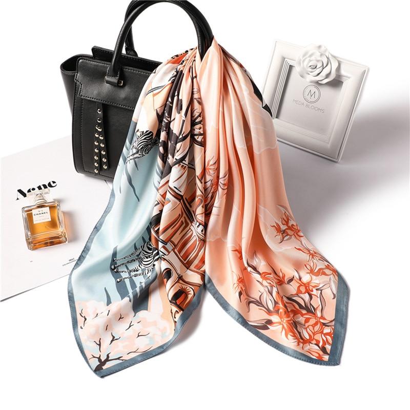 Fashion Print Kerchief Hair Scarf For Women Small Bandana Head Silk Satin Bag Scarfs 70*70cm Square Neck Scarves For Ladies 2020