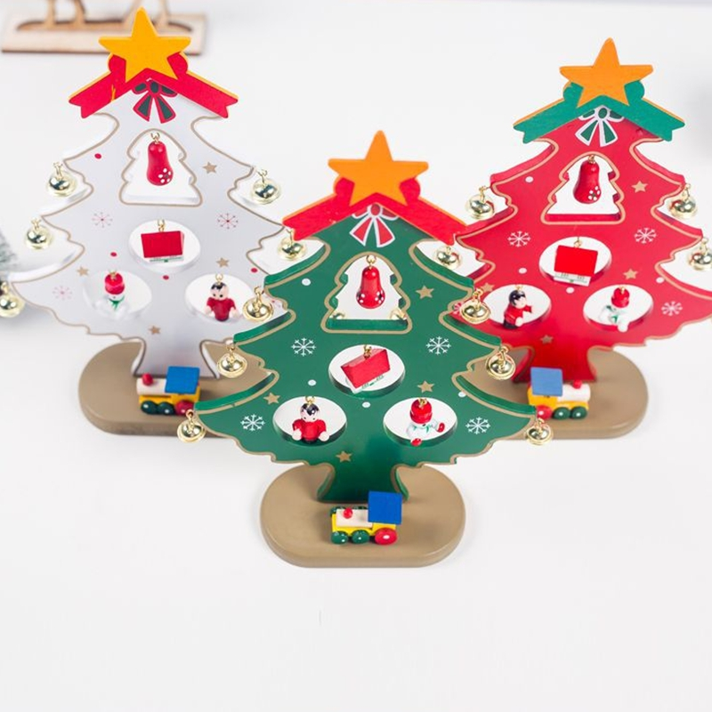 Diy Wooden Christmas Ornaments Tree Ornaments Festival Party Xmas Tree Table Desk Decoration