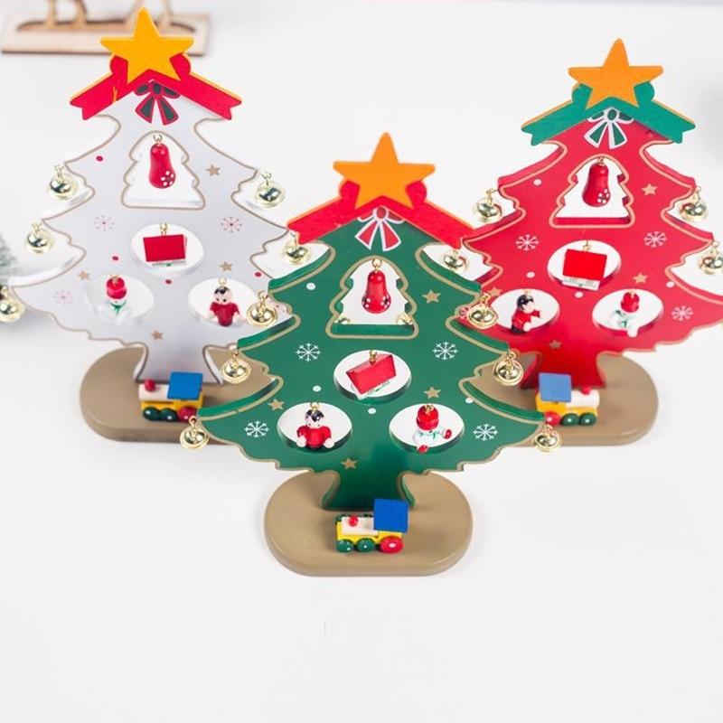 Diy Wooden Christmas Ornaments Tree Ornaments Festival Party Xmas Tree Table Desk Decoration
