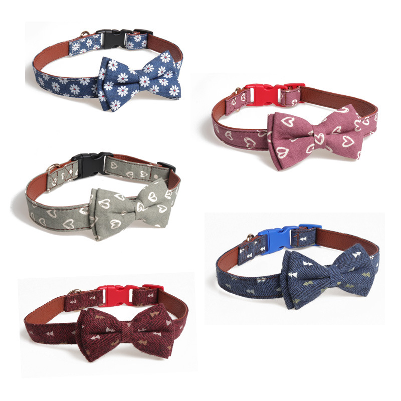 Amin Lattice New Style Cross Border For Medium Large Dog Safe Socket Bow Pet Collar Manufacturers Direct Selling