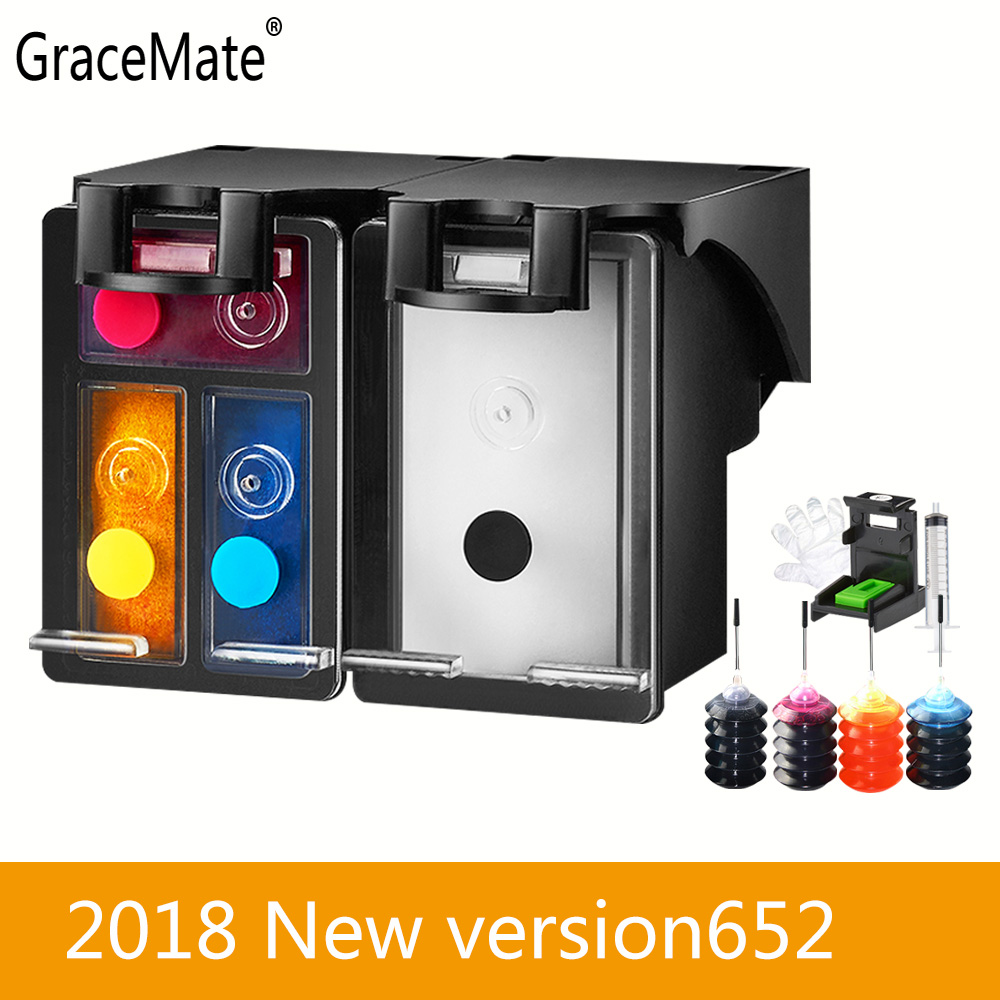 2018 New Version GraceMate <font><b>652</b></font> Compatible Refillable <font><b>Ink</b></font> <font><b>Cartridge</b></font> for <font><b>HP</b></font> Deskjet <font><b>Ink</b></font> Advantage 2676 2677 2678 5075 5076 5078 image