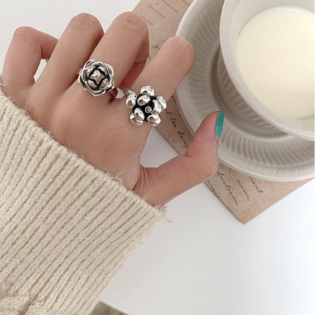 XIYANIKE 925 Sterling Silver Rose Ring Open Retro Light Luxury Simple Compact Trendy Distressed Prevent Allergy Exquisite Кольцо