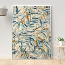 Gold and Blue Leaves Canvas Painting Modern Posters and Prints Wall Art Picture for Living Room Home Decoration Cuadros Unframed