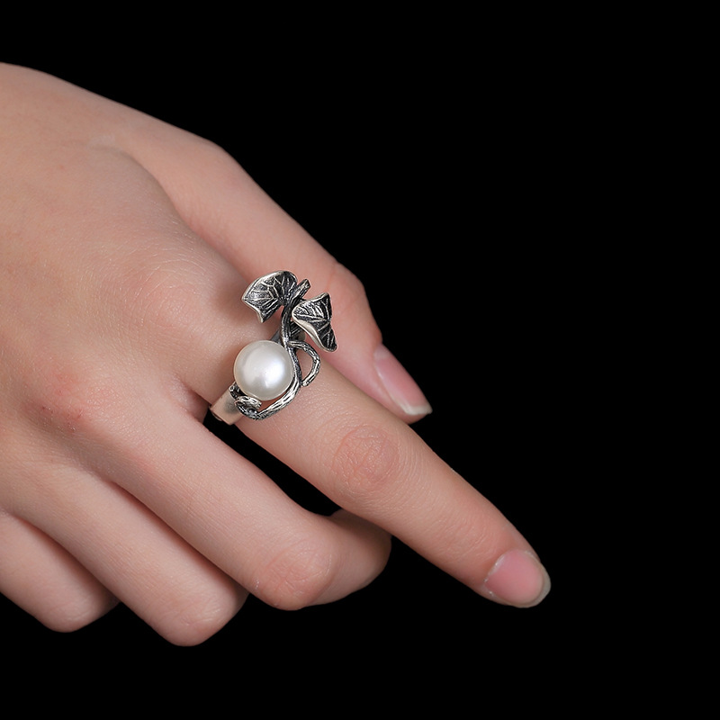 Image 3 - Pearl Rings Natural Freshwater Pearl 925 Sterling Silver Ring Leaves Women Retro Ring Party JewelryRings