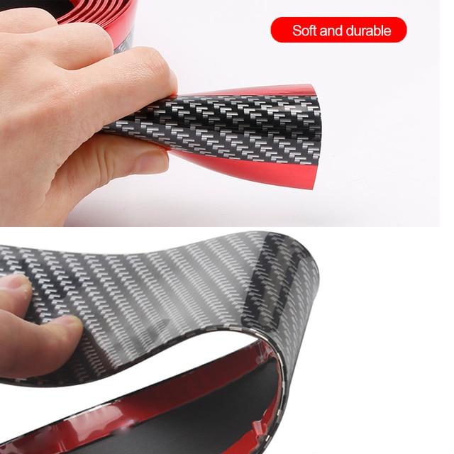 Auto Bumper Strip Car Sticker Carbon Fiber Film High Glossy Wrap Film Anti-collision Door Sill Protector Car Styling Accessories