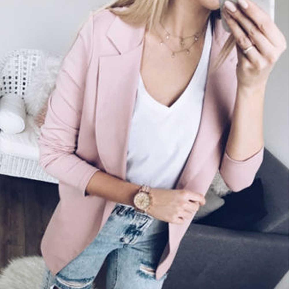 LASPERAL 2020 mujer abrigo vestido casual moda negocios Blazer sólido manga larga chaqueta prendas de vestir señoras negro Rosa chaqueta entallada