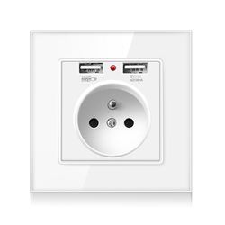 FRON Wall USB Power Socket, Crystal Glass Panel, Bedroom socket,250V16A Wall Embedded, Doubleusb EU French Standard Outlet2100MA