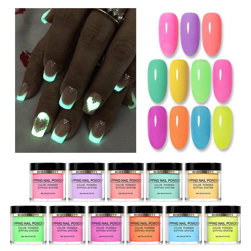 BORN PRETTY Fluorescence Acrylic Dip Nail Powder Neon Colored Dipping Nail Powder Dust Natural Dry Nail Art Glitter Decoration