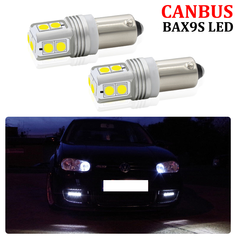 2Pcs CANBUS Error Free BAX9S H6W Sidelight <font><b>LED</b></font> Bulb For Volkswagen <font><b>VW</b></font> <font><b>Golf</b></font> R32 MK4 <font><b>MK5</b></font> Audi TT Mk1 <font><b>LED</b></font> Parking <font><b>Lights</b></font> image