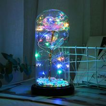 Rose Flower in a Glass Dome Wooden Base Colorful LED Night Light Lamp Valentine rose flower wooden photo frame led table night light