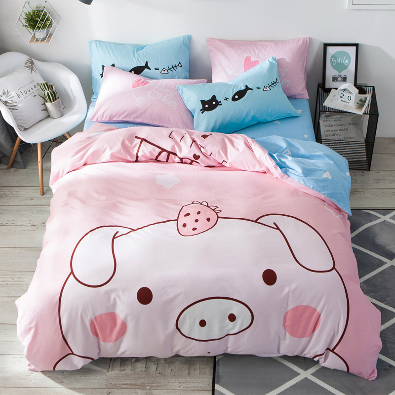 100%Cotton Dinosaur Pig Print Duvet Cover Set Boys Children Twin Queen Size Bedding Set 2 Pillowcases 1 Duvet Cover 1 Bed Sheet
