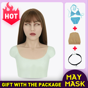 Silicone Masks Artificial Realistic Skin Long Neck May Mask for Crossdresser Halloween Transgender Shemale Sexy Cosplay Unisex