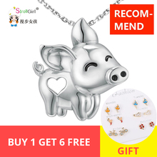 New Arrival Dropshipping 925 Sterling Silver Unique Charm gorgeous Pig flying Pendant Necklace Animal for Women Girl selling