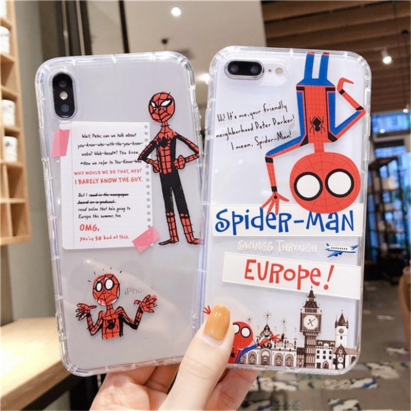 Marvel Spiderman caja transparente del teléfono del TPU para iPhone XSmax XR X XS 8 7 6s 6 Plus de dibujos animados divertido funda protectora Funda