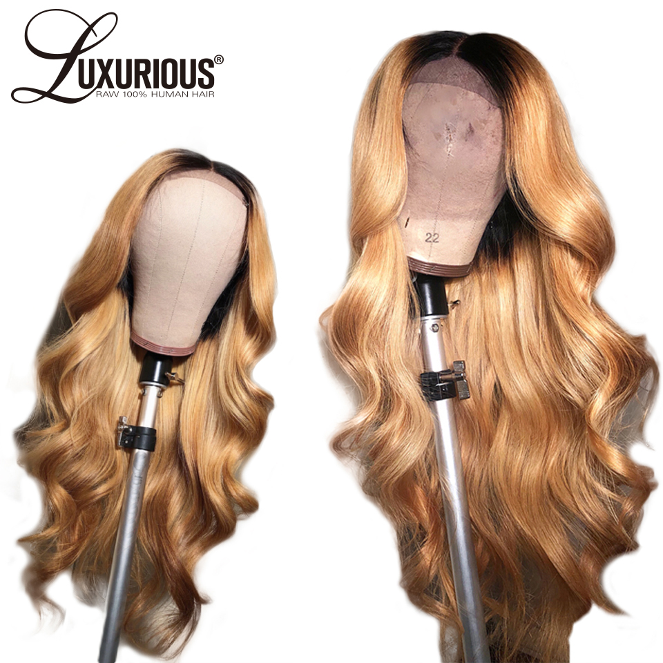 Body Wave Ombre Color 27 Pre Plucked 13X6 Lace Front Human Hair Wigs With Long Part Brazilian Remy Hair 13X4 Lace Front Wigs